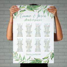 green wedding seating plan table printable by DesignYourLove