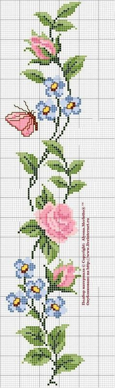 Roses and butterfly cross stitch pattern and color chart. Cross Stitch Bookmarks, Cross Stitch Borders, Cross Stitch Rose, Cross Stitch Flowers, Cross Stitch Charts, Cross Stitch Designs, Cross Stitching, Cross Stitch Embroidery, Hand Embroidery