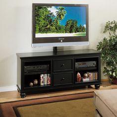 The Furniture Warehouse - Whalen Hampton Bay 60 inch Plasma Console in Black