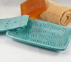 Unique Ceramic Soap Dish in Teal with Floral by BellaTerraCeramics
