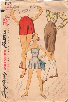 Simplicity 1173 1950s Misses Playsuit Romper with Shoulder Straps Shorts Bermuda Shorts womens vintage sewing pattern by mbchills