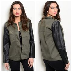 HP BEST IN GIFTS/MILITARY SHIRT JACKET This military jacket has got it all!  Fitting true to size, iLoving the faux leather arms and the embellished front pockets and detail across the shoulders. Not too heavy or light. Shell 1: 100% cotton Shell 2: 100%polyurethane backing and 100% rayon. L25 B18 W18 S  2 M  1 L  2 Please comment size needed below.  PLEASE DO NOT BUY THIS LISTING. Allow me to make your separate listing for you or help you make a bundle ❤️.  NO PAYPAL NO TRADES. Price is…