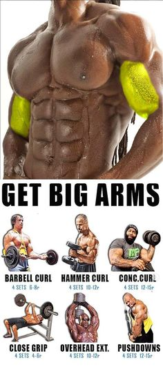 HOW TO GET BIG ARMS 🚨 BARBELL CURL Technique of execution Take the bar, stand level, the arms are lowered, this is the starting position; Start lifting the bar without retracting your elbows back when the bar is at shoulder level, maximally tighten your Fitness Workouts, Weight Training Workouts, Gym Workout Tips, At Home Workouts, Insanity Fitness, Extreme Workouts, Workout Men, Workout Routines, Gym Fitness