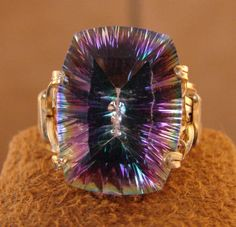14K Yellow Rolled Gold Mystic TOPAZ Ring
