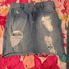 Distressed Mini Skirt Fitted denim skirt. Forever 21 Skirts Mini