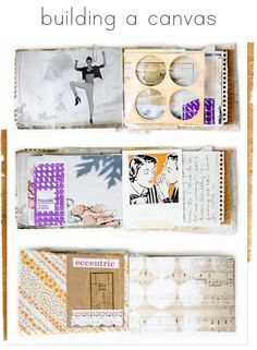 Mini Album Book - building a canvas - The key to creating a visually interesting journal is layering textures of paint, paper, and anything you can dream up!