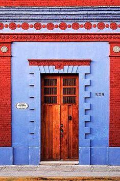 Two Palms - Merida, Yucatan, Mexico Entrance Doors, Doorway, Garage Doors, Cool Doors, Unique Doors, Knobs And Knockers, Door Knobs, Mexican Colors, When One Door Closes