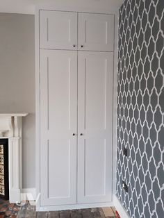 Fitted alcove wardrobes simple design with shaker panelled doors. Separate cupboards at the top creating an extra storage space behind small doors. interior of this wardrobes made with two shoe racks, hanging bars and storage space at the top. Built In Wardrobe Ideas Alcove, Built In Wardrobe Doors, Diy Built In Wardrobes, Made To Measure Wardrobes, Wardrobe Door Designs, Fitted Wardrobe Interiors, Bedroom Built In Wardrobe, Bedroom Built Ins, Fitted Bedroom Furniture