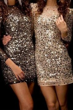 Grab a friend and go big this holiday season in neutral-toned sequined dresses.