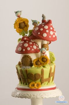 A mountain of magical mushrooms adorn this whimsical cake.