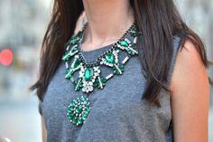 green stone necklace big zara