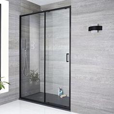 Milano Nero - Black Sliding Shower Door - Choice of Sizes and Side Panel Bathroom Shop, Big Bathrooms, Small Bathroom, Frameless Sliding Shower Doors, Glass Shower Doors, Douche Walk In, Shower Cabin, Black Shower, Luxury Shower