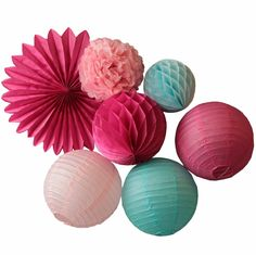 7pcs (Pink,Fuchsia,Blue) Party Decoration Set Hanging Paper Fan,Paper Lanterns,Honeycomb Ball,Tissue Paper Pom Pom Wedding Decor-in Party DIY Decorations from Home & Garden on Aliexpress.com | Alibaba Group