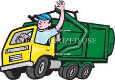 Garbage Truck Driver Waving Cartoon Cartoon Stock Illustration