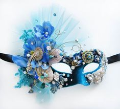 Mermaid Costume Mask, Aqua Blue Swarovski® crystals Headpiece, Masquerade Mask, Halloween Venetian Mask by Elven Design Art Blue Crystals, Swarovski Crystals, Venetian Masks, Venetian Masquerade, Carnival Masks, Masquerade Ball, Masquerade Outfit, Masquerade Costumes, Beautiful Mask