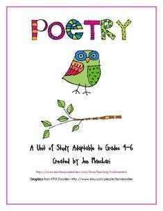 This comprehensive unit on the reading, writing and performance of poetry is a student and teacher favorite! It's 50 pages of poetry fun!