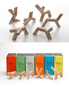 Limited edition Animali Domesticki line of minimalist wooden toys (made of beach and oak), France, 2010, by artist Jean-Sébastien Poncet.