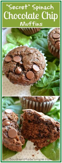 Chocolate Chip Spinach Muffins - Southern Made Simple Looking for a way to sneak in some extra veggies into your diet? Then these hidden spinach chocolate chip muffins are right up your alley! Spinach Muffins, Veggie Muffins, Carrot Muffins, Banana Pancakes, Muffin Recipes, Baby Food Recipes, Dessert Recipes, Toddler Meals, Kids Meals