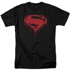 BATMAN V SUPERMAN/SPLATTERED-S/S ADULT 18/1-BLACK