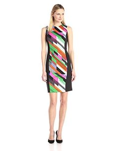 Calvin Klein Womens Printed Blocked Scuba Sheath Fern Combo 16 * For more information, visit image link.(This is an Amazon affiliate link and I receive a commission for the sales)