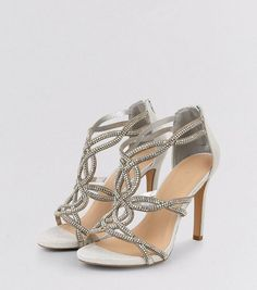 Silver Sateen Diamanté Cross Strap Heeled Sandals   New Look