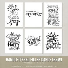 *NEW* Handlettered B&W Filler Cards (Digital)
