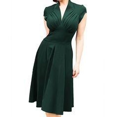 Women's Deep-V Neck Cap Sleeve Cocktail Fold Wrap Rockabilly Swing Skater Dress XL Green at Amazon Women's Clothing store: