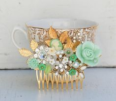 Bridal HAIR COMB Gold Vintage Hair Accessory Mint Green & Gold