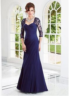 Stunning Chiffon & Tulle Sweetheart Neckline A-line Evening Dress With Train - beautiful option for bridesmaids or mother of the Bride...and only $149!