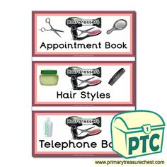 Hairdressers Role Play Resources - Primary Treasure Chest Role Play Shop, Role Play Areas, Teaching Activities, Teaching Ideas, Ourselves Topic, Book Labels, Book Themes, Treasure Chest, Hairdressers