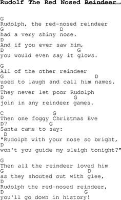 Christmas Songs and Carols, lyrics with chords for guitar banjo for Rudolf The Red Nosed Reindeer