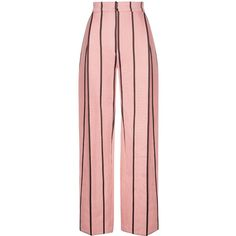 Wisdom Pin Stripe Trouser ($820) ❤ liked on Polyvore featuring pants, pink, high waisted trousers, pink trousers, pink high waisted pants, stripe pants and striped trousers