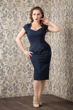 Collectif Clothing 50s Regina Bengaline Pencil Dress in Navy 100 31 16108 20151016 586W