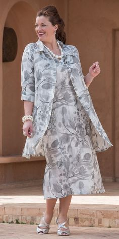 Kasbah silver linen printed collar jacket and dress