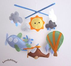 Baby Crib Mobile - Baby Mobile - Mobile - Crib mobiles - Felt Mobile - Nursery mobile -  Hot air balloon and airplanes  design