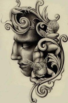 Renaissance Ornament Religious Tattoo Design
