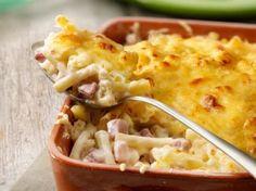 Macaroni met ham en kaas + in commentaren recept macaronitaart, voorgekookt in melk. Apart!