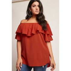 Forever21 Plus Size Off-the-Shoulder Ruffle Top ($28) ❤ liked on Polyvore featuring plus size women's fashion, plus size clothing, plus size tops, rust, layered ruffle tops, red top, tiered ruffle top, red ruffle top and ruffle sleeve top