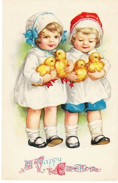 A Happy Easter Vintage Postcard
