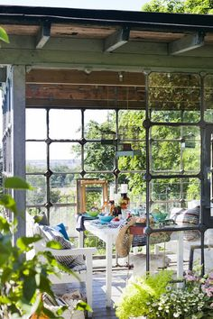 Summer Lunch in an All-Glass Greenhouse/Porch