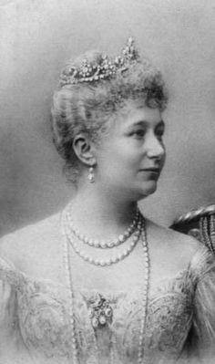 Augusta Victoria of Schleswig-Holstein, Empress consort of German Emperor Wilhelm II, wearing Antique Tiara, Prussia (19th c.; diamonds).