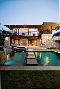 Neutral Contemporary Facade and Pool - luxesource.com