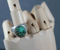 $265    Heavy Sterling Ring Set with Intense Deep Green Turquoise, Jewelry by Navajo