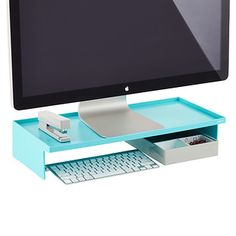 Poppin Aqua Monitor Stand | Desk Accessories | Cool and Modern Office Supplies #workhappy
