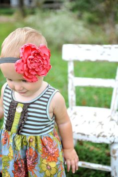 Flower Headband  Satin Flower  Salmon  Gray by sassychalets, $8.00
