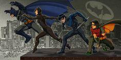 Batman, Catwoman, Nightwing, Robin (Tim Drake)