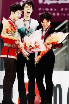 Nathan Chen, Yuzuru Hanyu and Shoma Uno - 2016 Grand Prix Final