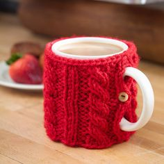 Free Knitting Pattern for Cable Knit Mug Cozy -#ad Easy pattern suitable for beginners. tba