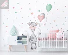 Wall decal for kids DOTS BALLOONS cow Mega süßes Giraffen Wandtattoo für das perfekte Baby Zimmer mit Ballons und Punkten! The post Wall decal for kids DOTS BALLOONS cow appeared first on Babyzimmer ideen. Baby Room Decor, Nursery Room, Girl Nursery, Girls Bedroom, Nursery Decor, Wall Decor, Ikea Mosslanda, Baby Zimmer, Cute Giraffe