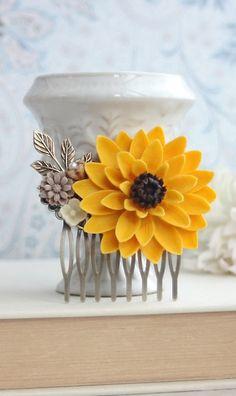 SunFlower Hair Comb. Sunflower Wedding. Large Sunflower Hair Comb. Bridesmaids Gift, Yellow Wedding. Woodland Country. Barn Farm Wedding by Marolsha - https://www.etsy.com/listing/175498107/sunflower-hair-comb-sunflower-wedding?ref=shop_home_active_2&ga_search_query=sunflower
